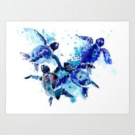 Sea Turtles, Marine Blue underwater Scene artwork Art Print