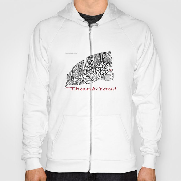 Zentangle Thank You - Black and White Illustration Hoody