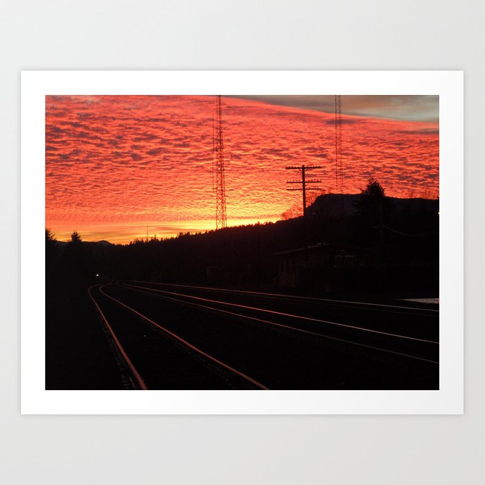 Sunset Railroad Art Print