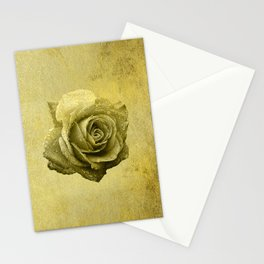 Metallic Gold Rose Flower Luxury Floral Victorian Bohemian Girly Wedding Bride Stationery Cards