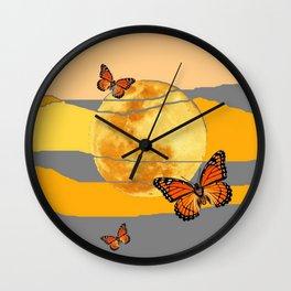 MOON & MONARCH BUTTERFLIES DESERT SKY ABSTRACT ART Wall Clock