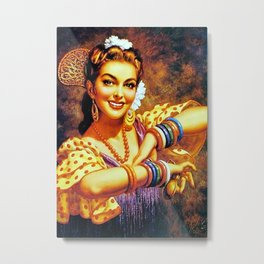 Jesus Helguera Painting of a Mexican Calendar Girl with Bangles Metal Print