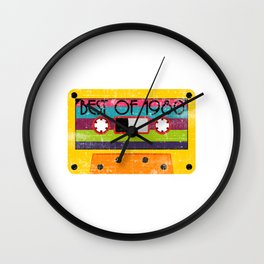 """Neon 80's Design A Colorful 80's Design Saying """"Best Of 1980"""" T-shirt Design Vintage Old Fashion Wall Clock"""