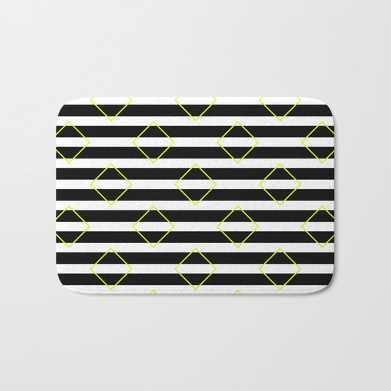 Black And White Stripes And Yellow Squares Pattern Bath Mat