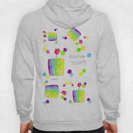 How'ya Doin'? fruit illustration watermelon pattern colorful kitchen decor watercolor painting food Hoody