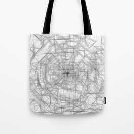 psychedelic drawing and sketching abstract pattern in black and white Tote Bag