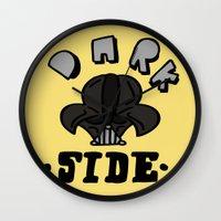 dark side Wall Clocks featuring dark side by benjamin chaubard
