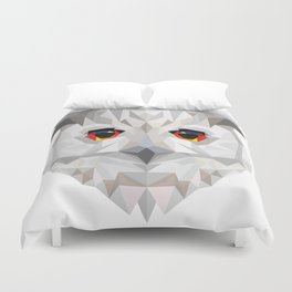 Geometric White Owl Duvet Cover