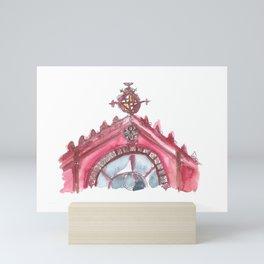 A Cherry Red Facade of Sant Antoni Market, Barcelona Mini Art Print