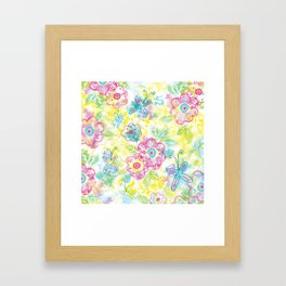 Watercolor spring pattern Framed Art Print