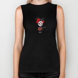 Day of the Dead Girl Playing Albanian Flag Guitar Biker Tank