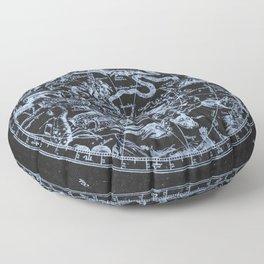 Ice on Black | Zodiac Skies & Astrological Ties Floor Pillow