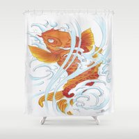 koi fish Shower Curtains featuring Koi Fish by Molly Violence