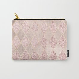 Blush Rose Gold Glitter Argyle Carry-All Pouch