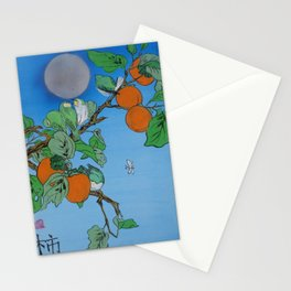 Persimmon branch moon and birds Japan Hieroglyph original artwork in japanese style J099  painting w Stationery Cards