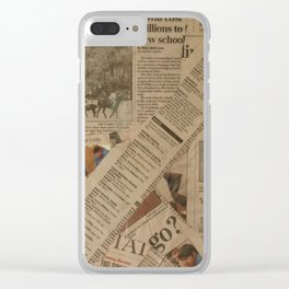 newspaper old vintage collage scrapbook Clear iPhone Case