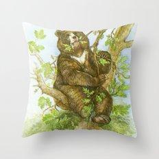 Bear on a Tree Throw Pillow