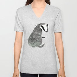 Adorable Badger ( Meles meles ) Unisex V-Neck