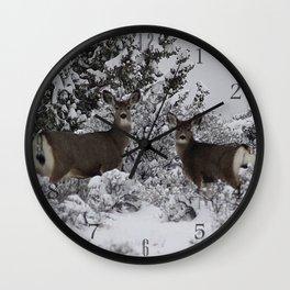 Mule Deer in the Oregon Snow Wall Clock