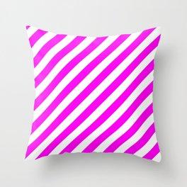 Diagonal Stripes (Magenta & White Pattern) Throw Pillow