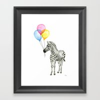 Zebra with Balloons Watercolor Baby Animals Framed Art Print