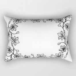 Black and White Floral Wreath Lineart Rectangular Pillow