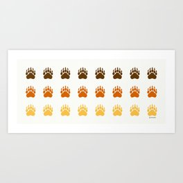 Bear Paws pattern (brown) Art Print