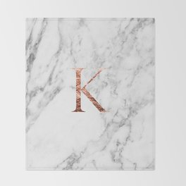 Monogram rose gold marble K Throw Blanket