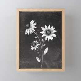 Wildflowers Ink Drawing | Black Background Framed Mini Art Print