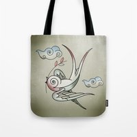 sparrow Tote Bags featuring Sparrow by Vin Zzep