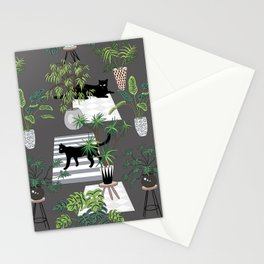 cats in the interior dark pattern Stationery Cards