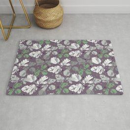 Sprigs and polka dots on a purple background Rug