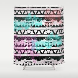 Black and White Aztec Pattern Shower Curtain