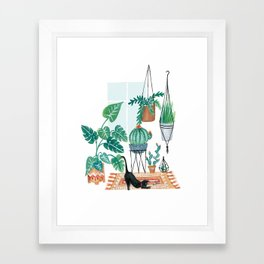 Cat in Potted Jungles Framed Art Print