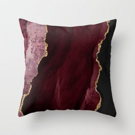 Burgundy Geode & Gold Glitter // 01 Throw Pillow