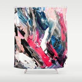 Modern navy blue pink black acrylic brushstrokes paint Shower Curtain