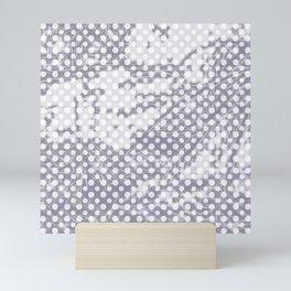 Lilac-gray polka dots with texture Mini Art Print