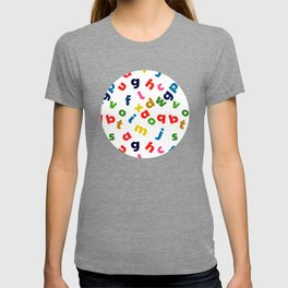 colourful alphabet T-shirt