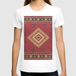 (N14) Red Anthropologie Oriental Moroccan Traditional Artwork. T-shirt