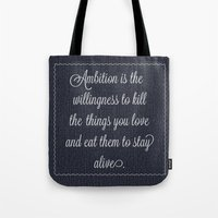 30 rock Tote Bags featuring Jack Donaghy's throw pillow from 30 rock by Taylor Jean