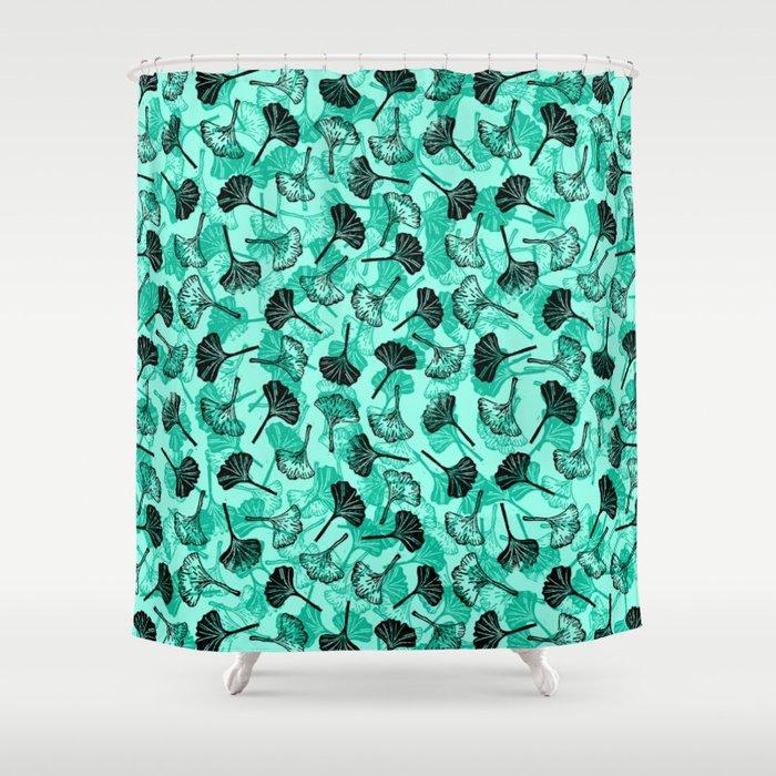Ginkgo Biloba Linocut Pattern MINT GREEN Shower Curtain