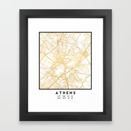 ATHENS GREECE CITY STREET MAP ART Framed Art Print