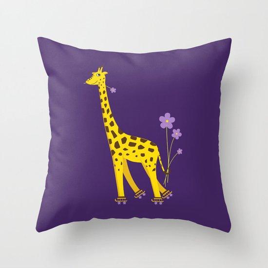 Funny Giraffe Roller Skating Throw Pillow