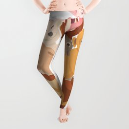 Funny Easter, cute cartoon of dogs hatching from Easter eggs with pink bunny rabbit. Leggings