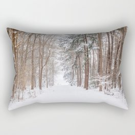 County road covered in snow   Winter snow landscape in the Netherlands 2021   Landscape Photography Rectangular Pillow