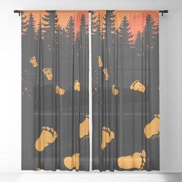 Bigfoot Tracks At Sunset Sheer Curtain