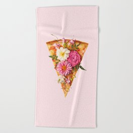 FLORAL PIZZA Beach Towel