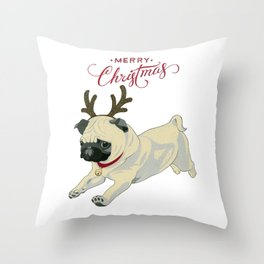 Deer Pug Throw Pillow