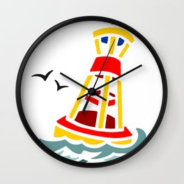 Yellow and Red Buoy Wall Clock