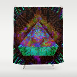 Green Pyramid Landing Shower Curtain